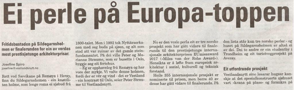 Tekst Sildegarnsholmen Vestlandsnytt